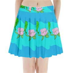 Frog Flower Lilypad Lily Pad Water Pleated Mini Skirt