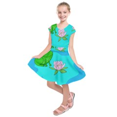 Frog Flower Lilypad Lily Pad Water Kids  Short Sleeve Dress
