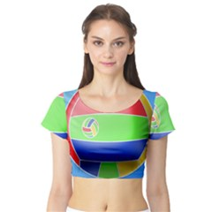 Balloon Volleyball Ball Sport Short Sleeve Crop Top (tight Fit)