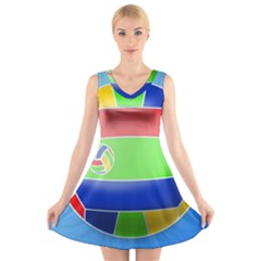 Balloon Volleyball Ball Sport V Neck Sleeveless Skater Dress