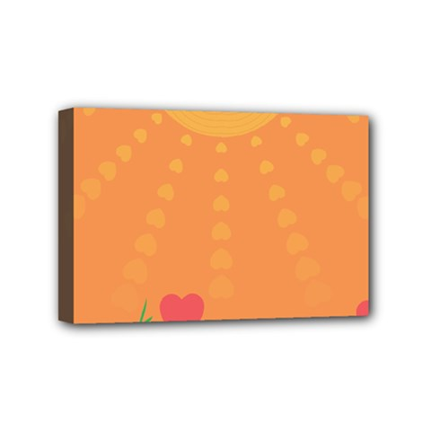 Love Heart Valentine Sun Flowers Mini Canvas 6  X 4
