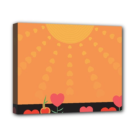 Love Heart Valentine Sun Flowers Canvas 10  X 8