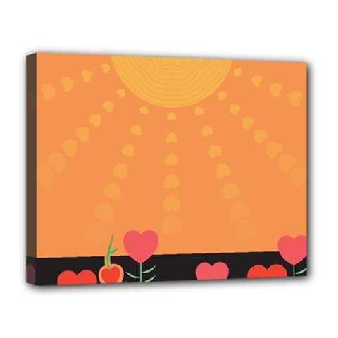 Love Heart Valentine Sun Flowers Canvas 14  x 11