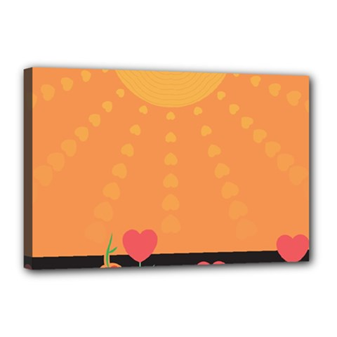 Love Heart Valentine Sun Flowers Canvas 18  X 12