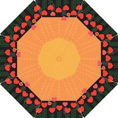Love Heart Valentine Sun Flowers Hook Handle Umbrellas (Large)
