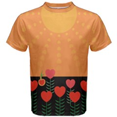 Love Heart Valentine Sun Flowers Men s Cotton Tee
