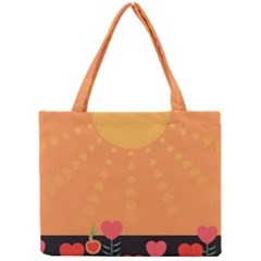 Love Heart Valentine Sun Flowers Mini Tote Bag