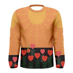 Love Heart Valentine Sun Flowers Men s Long Sleeve Tee