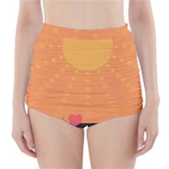 Love Heart Valentine Sun Flowers High Waisted Bikini Bottoms