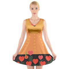 Love Heart Valentine Sun Flowers V Neck Sleeveless Skater Dress