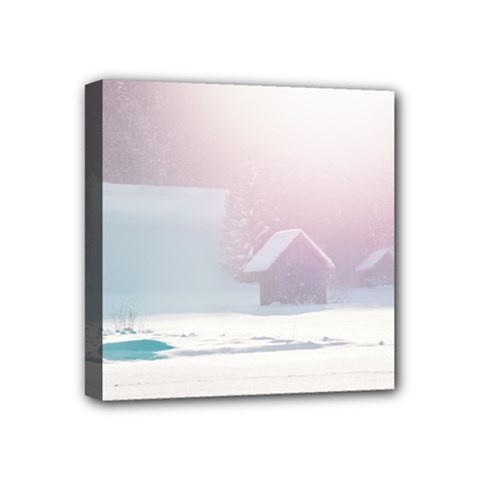 Winter Day Pink Mood Cottages Mini Canvas 4  X 4
