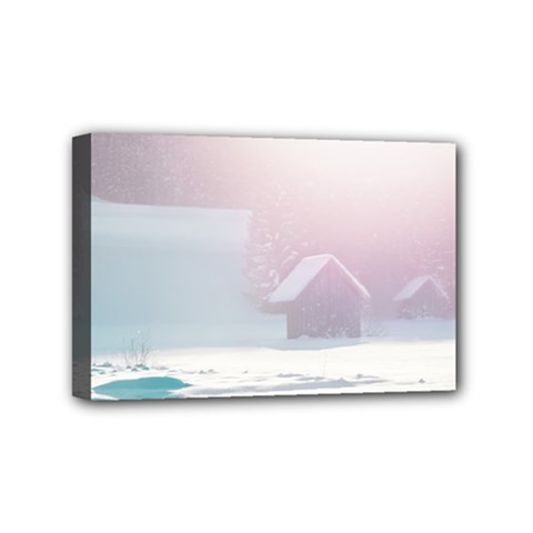 Winter Day Pink Mood Cottages Mini Canvas 6  X 4