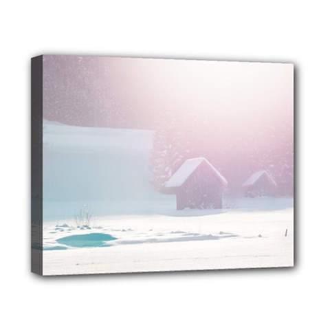 Winter Day Pink Mood Cottages Canvas 10  x 8