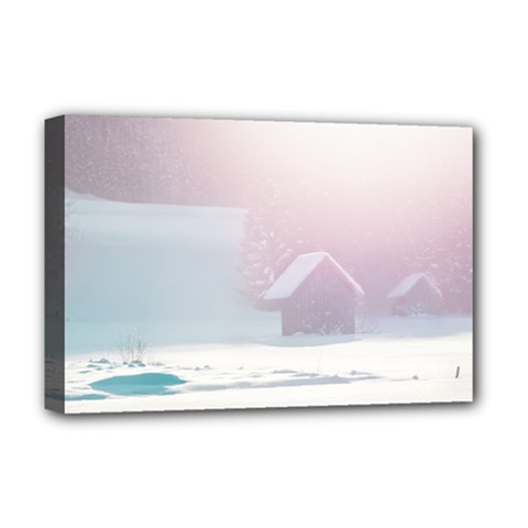 Winter Day Pink Mood Cottages Deluxe Canvas 18  X 12