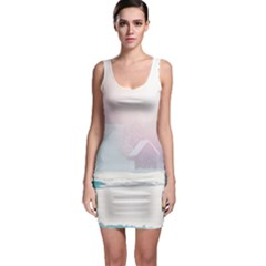 Winter Day Pink Mood Cottages Sleeveless Bodycon Dress
