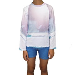 Winter Day Pink Mood Cottages Kids  Long Sleeve Swimwear