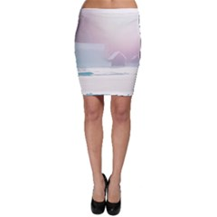 Winter Day Pink Mood Cottages Bodycon Skirt