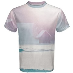 Winter Day Pink Mood Cottages Men s Cotton Tee