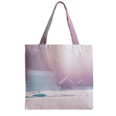 Winter Day Pink Mood Cottages Grocery Tote Bag