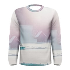 Winter Day Pink Mood Cottages Men s Long Sleeve Tee
