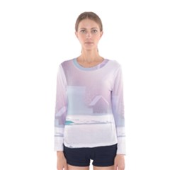 Winter Day Pink Mood Cottages Women s Long Sleeve Tee