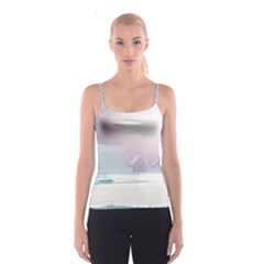 Winter Day Pink Mood Cottages Spaghetti Strap Top