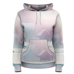 Winter Day Pink Mood Cottages Women s Pullover Hoodie