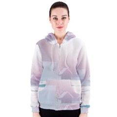 Winter Day Pink Mood Cottages Women s Zipper Hoodie