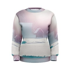 Winter Day Pink Mood Cottages Women s Sweatshirt