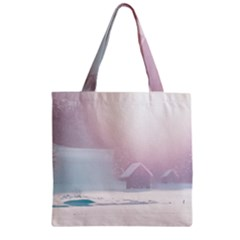 Winter Day Pink Mood Cottages Zipper Grocery Tote Bag