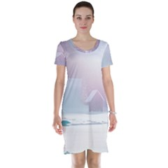 Winter Day Pink Mood Cottages Short Sleeve Nightdress