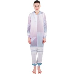 Winter Day Pink Mood Cottages Hooded Jumpsuit (ladies)