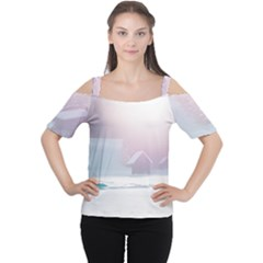 Winter Day Pink Mood Cottages Women s Cutout Shoulder Tee