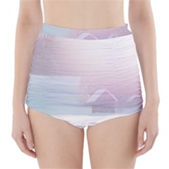 Winter Day Pink Mood Cottages High-Waisted Bikini Bottoms