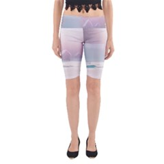 Winter Day Pink Mood Cottages Yoga Cropped Leggings