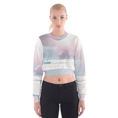 Winter Day Pink Mood Cottages Cropped Sweatshirt