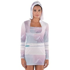 Winter Day Pink Mood Cottages Women s Long Sleeve Hooded T Shirt