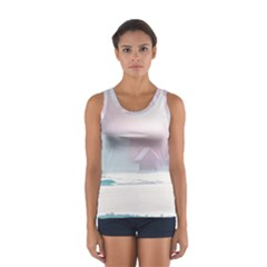 Winter Day Pink Mood Cottages Women s Sport Tank Top