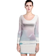 Winter Day Pink Mood Cottages Long Sleeve Velvet Bodycon Dress