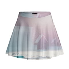Winter Day Pink Mood Cottages Mini Flare Skirt