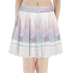 Winter Day Pink Mood Cottages Pleated Mini Skirt