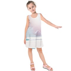 Winter Day Pink Mood Cottages Kids  Sleeveless Dress