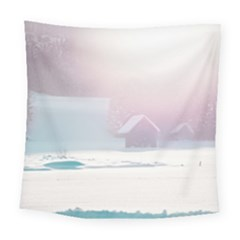 Winter Day Pink Mood Cottages Square Tapestry (large)