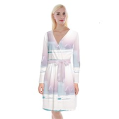 Winter Day Pink Mood Cottages Long Sleeve Velvet Front Wrap Dress
