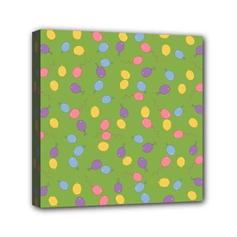Balloon Grass Party Green Purple Mini Canvas 6  X 6