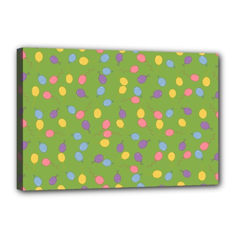 Balloon Grass Party Green Purple Canvas 18  x 12