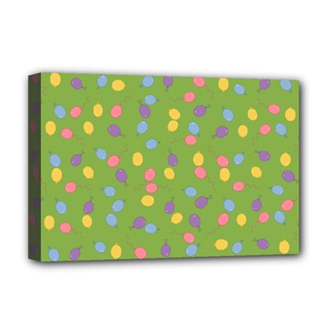 Balloon Grass Party Green Purple Deluxe Canvas 18  X 12