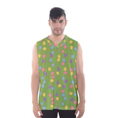 Balloon Grass Party Green Purple Men s Basketball Tank Top