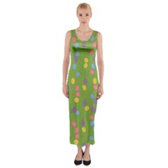 Balloon Grass Party Green Purple Fitted Maxi Dress