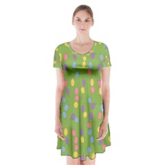 Balloon Grass Party Green Purple Short Sleeve V-neck Flare Dress
